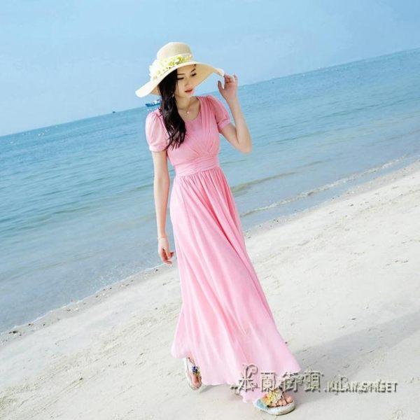 波西米亞雪紡洋裝女修身顯瘦海邊度假長裙海灘裙子【米蘭街頭】