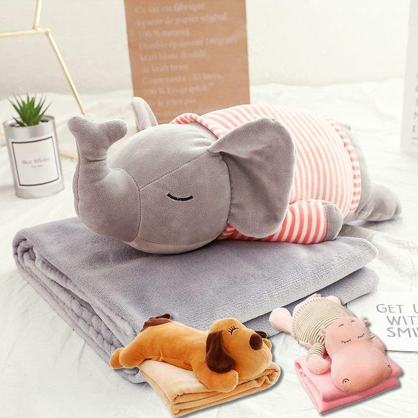 可愛動物抱枕+毯子 大象/河馬/狗/粉紅豬 抱枕 空調毯 抱枕毯 毯子 聖誕節交換禮物【RS880】