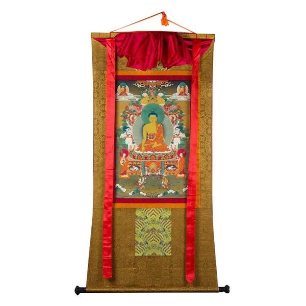 釋迦摩尼佛像噶瑪嘎孜礦物顏料卷軸西藏釋迦牟尼佛唐