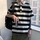 長袖polo衫男士條紋POLO衫潮牌潮流短袖t恤港風五分半截袖韓版上衣服【快速出貨】