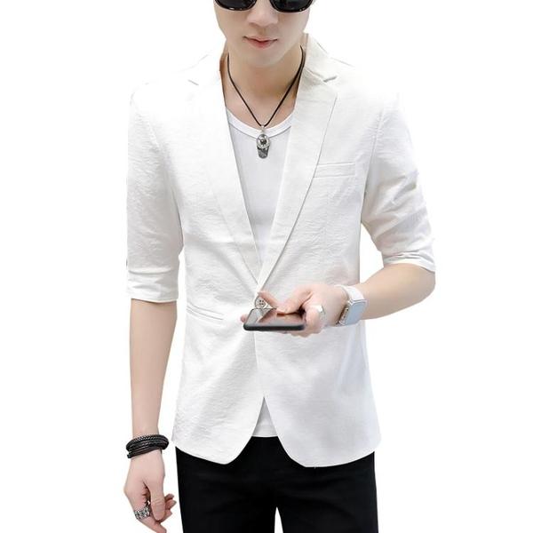 夏季七分袖西服男上衣韓版潮流五分中袖小西裝男短袖西裝外套 有緣生活館