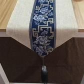 中式禪意餐桌桌旗現代簡約復古棉麻布藝