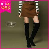 (現貨-黑38-40)PUFII-膝上靴 長腿顯瘦麂皮後綁帶內刷毛長靴高筒靴-1011 現+預 秋【CP15338】