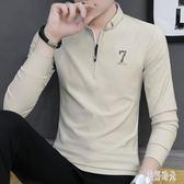 秋季男士長袖PoloT恤 韓版潮流男裝polo衫潮牌打底衫上衣服秋裝 zh8822『美好時光』