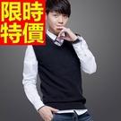 男針織 背心 有型日系-美式風與眾不同奢華V領男上衣3色61d5【巴黎精品】