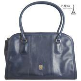 【巴黎站二手名牌專賣店】*現貨*Agnes b. 真品*立體金字 深藍色皮革手提包 肩背包 購物包