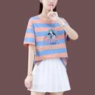 【100%純棉】休閒圓領短袖T恤女夏季新款寬鬆顯瘦條紋短款上衣 快速出貨