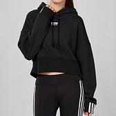 Adidas Originals 女款 黑色 短版 休閒 連帽 長袖 上衣 EJ8537
