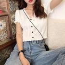 荷葉邊上衣 夏季新款韓版洋氣心機冰絲上衣短款泫雅風短袖V領針織開衫T恤女潮 寶貝 618狂歡
