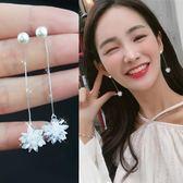 韓國氣質超仙水晶冰花耳環純銀個性耳釘百搭淑女性感長款吊墜耳墜 薔薇時尚