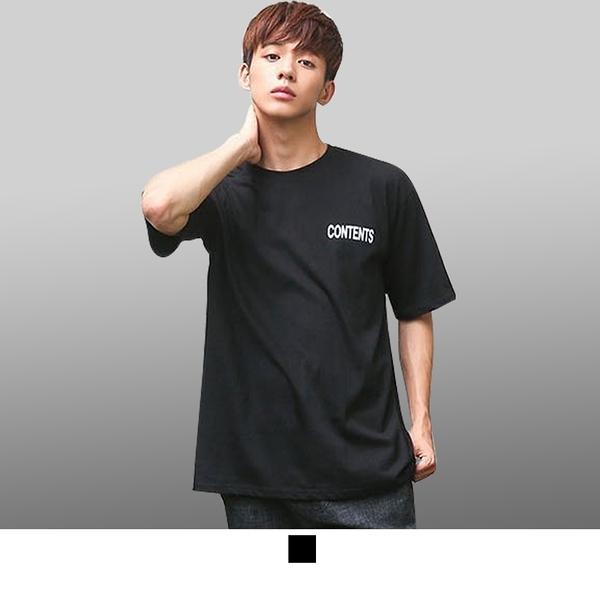 【男人幫】T1539*黑 CONTENTS 雙面 印花 自創純棉短袖T恤