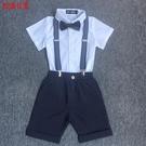 花童禮服 兒童小主持人周歲生日禮服男童短袖小西裝洋氣背帶褲夏季花童套裝 瑪麗蘇