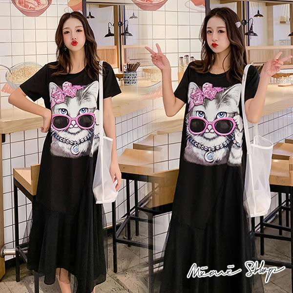 孕婦裝 MIMI別走【P52844】蘇菲的貓咪之旅 網紗拼接孕婦洋裝 長裙
