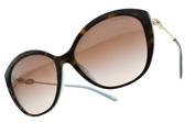 Tiffany&CO.太陽眼鏡 TF4144BF 8134-3B (琥珀棕藍-漸層棕鏡片) 貴氣女王貓眼款 墨鏡 # 金橘眼鏡