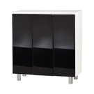 【藝匠】三密門鏡面PU鞋櫃 收納櫃 鞋櫃 家具 置物櫃 櫃子 收藏 組合櫃 (黑)