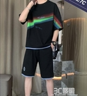 短袖t恤男士運動休閒套裝夏季百搭半袖體恤韓版潮流牌五分袖上衣 3C優購