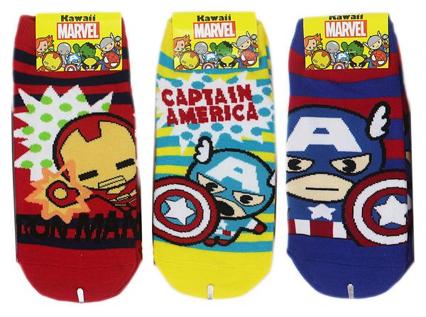 【卡漫城】 復仇者聯盟 襪子 22-24cm 3雙組 ㊣版 Marvel 短襪 美國隊長 鋼鐵人 韓國製 大童 女生