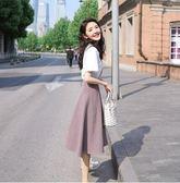 特賣款不退換網紅風T恤半身裙套裝S-XL/33284/新款冷淡風連衣裙小清新格子套裝裙兩件套1號公館