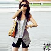 韓版修身顯瘦黑色西裝馬甲女薄背心夏季坎肩外套真口袋馬甲新 CY潮流站