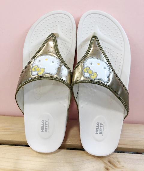 【震撼精品百貨】Hello Kitty 凱蒂貓~台灣製Hello kitty正版成人夾腳拖鞋-厚底金色
