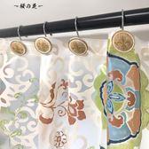 美式復古仿木紋鳶尾花浴簾掛鉤浴簾環 12個
