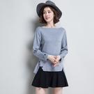 針織衫-長袖前短後長側開岔一字領時尚女毛衣3色73oq29【巴黎精品】