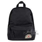 【新進品牌 獨家價】 MARC JACOBS 馬克賈伯 徽章造型尼龍皮飾邊後背包.黑