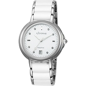 LICORNE力抗 晶鑽美人時尚陶瓷女錶-白/36mm LT134LWWI
