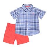 【北投之家】男寶寶套裝二件組 短袖襯杉西裝上衣+短褲 藍格 | Carter s卡特童裝 (嬰幼兒/小孩/baby)