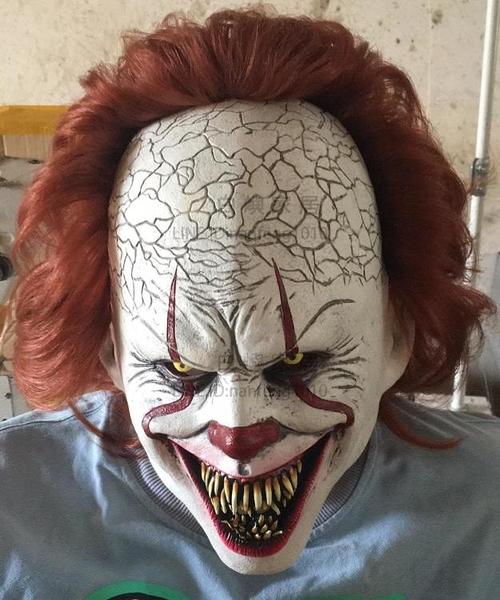 萬聖節成人全臉小丑回魂恐怖面具妝容joker頭套劇本殺cos裝扮道具【白嶼家居】