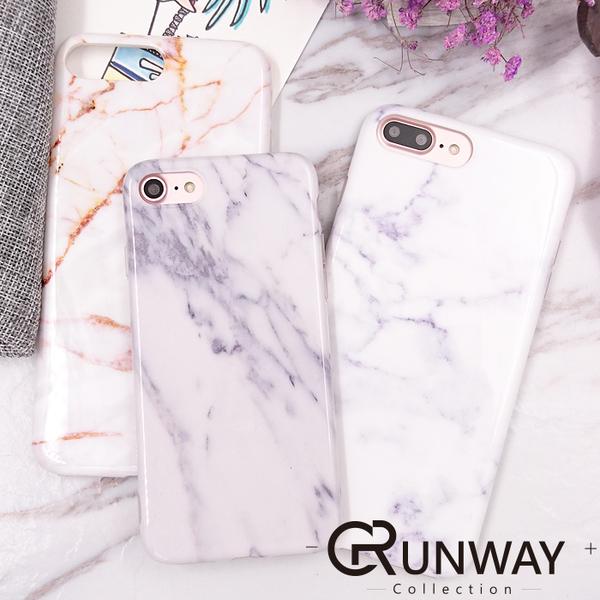 【R】淺色系 米灰 大理石+奈米鋼化膜 iPhone 8 I7 蘋果 IMD 手機殼 亮面防摔