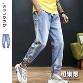 單線 運動風 男生牛仔褲 牛仔長褲 休閒長褲 休閒褲 縮口褲 男【SW-KC9910】『可樂思』