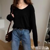 針織上衣 2020秋季新款韓國長袖T恤女針織打底衫上衣V領毛衣寬鬆外穿秋衣服 伊蒂斯