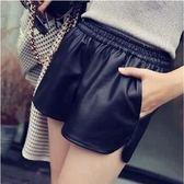 顯瘦褲PU皮休閒短褲皮褲 (DF-599)