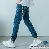 潑漆刷痕彈性牛仔褲【B2B01-1】OBIYUAN 束口丹寧長褲 共1色