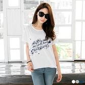 OB嚴選《AA7152-》竹節棉高含棉暈染印花長版T恤