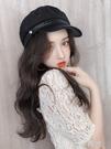 海軍假發帽子女秋冬季韓版潮流時尚百搭網紅款遮陽防曬一體長卷發 一米陽光