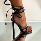 羅馬凉鞋 繫帶高跟鞋 歐美水鉆編織交叉綁帶高跟女涼鞋