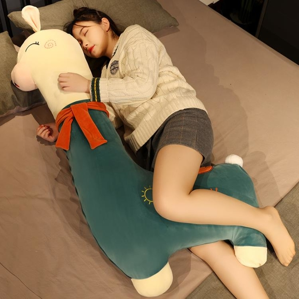 羊駝抱枕長條枕公仔超大女生床上抱著睡覺夾腿布娃娃玩偶毛絨玩具 「青木鋪子」