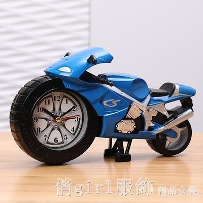 掛鐘 摩托車小鬧鐘學生用男孩專用兒童時鐘卡通創意可愛迷你鬧鈴床頭鐘 開春特惠 YTL