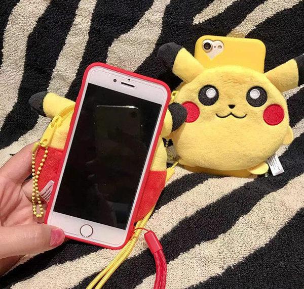 可愛皮卡丘精靈立體公仔零錢包iphone6/7 6s plus 5S保護套