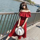 一字領洋裝 沙灘裙女夏初戀裙一字肩海邊度假復古小紅裙高腰洋裝潮 綠光森林