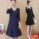 線條V領雪花點洋裝(2色)L~5XL【0...