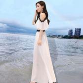 一字露肩雪紡裙子女海邊度假沙灘裙