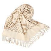 BURBERRY雙面兩用格紋拼圓標羊絨圍巾(米白色)089546-2