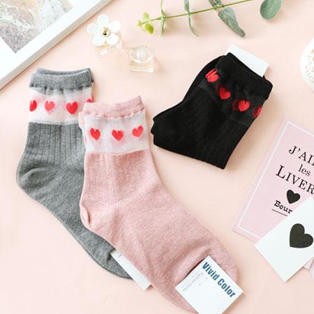 韓國 甜甜愛心透膚襪 短襪 襪子 透膚襪 造型襪 流行襪 愛心襪 少女襪
