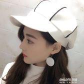 韓版帽子女黑白皮質八角帽百搭休閒條紋貝蕾帽  朵拉朵衣櫥