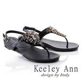 ★2018春夏★Keeley Ann璀璨光芒~奢華寶石後繫帶T字夾腳涼鞋(黑色)