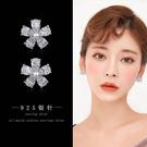 【免運到手價$98】韓國簡約個性氣質耳釘五瓣花人工锆石耳環女清新花瓣耳墜