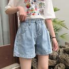 牛仔短褲 夏季新款韓版學院風寬松高腰牛仔短褲女A字闊腿熱褲子女學生 寶貝計書